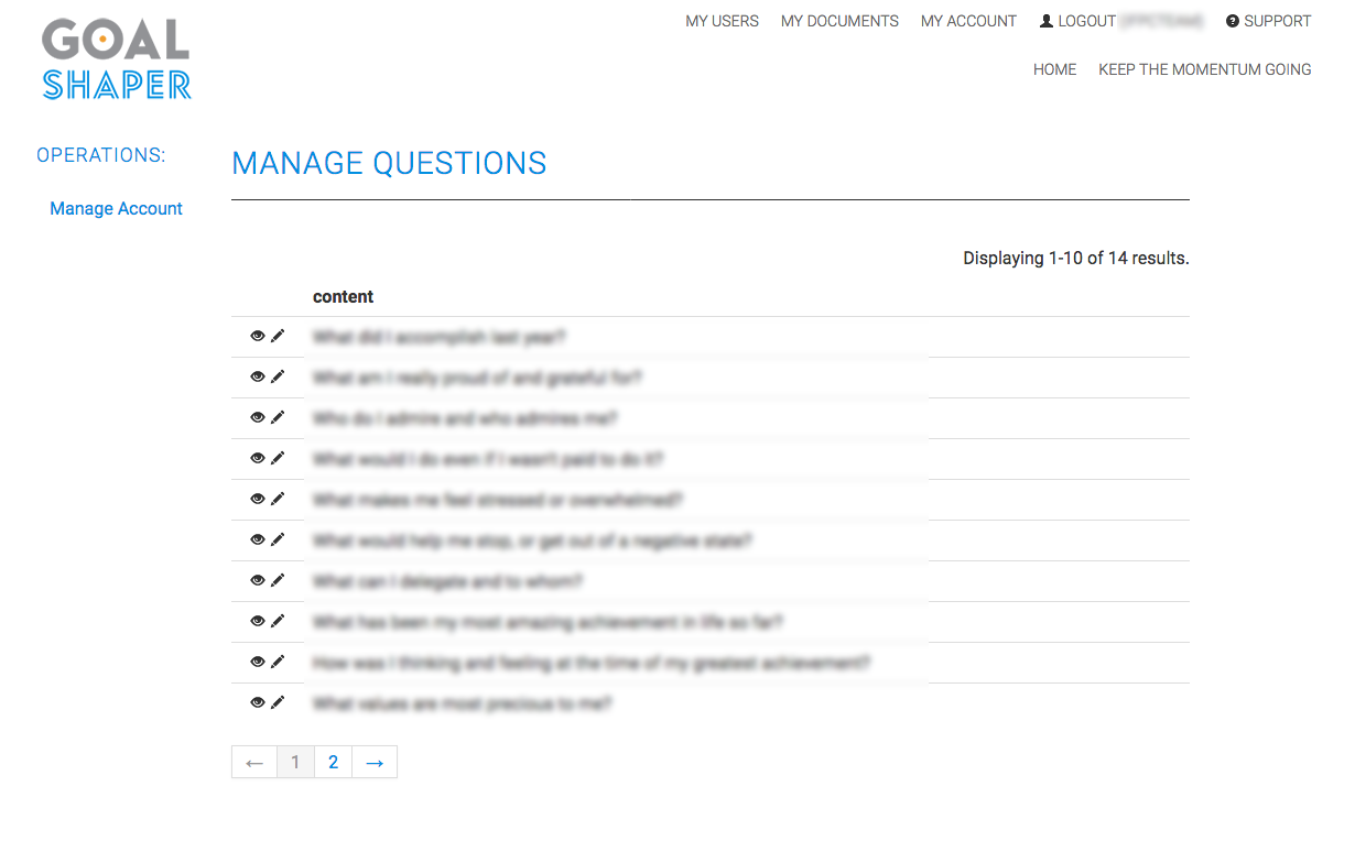Manage Questions